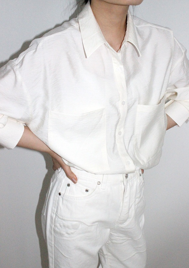 [HQ]silky & glossy pocket shirt (ivory)