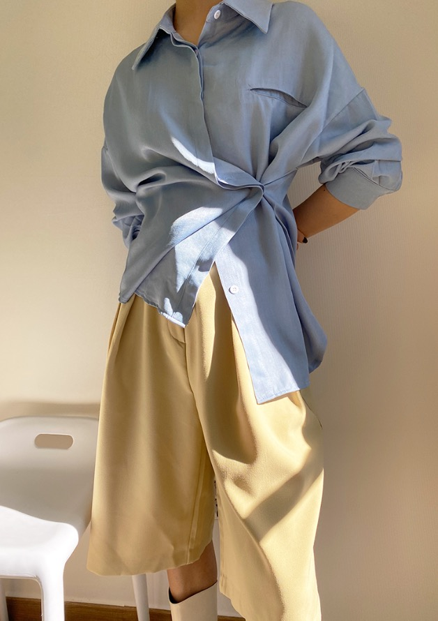 two way wrap soft spring shirt (sky-blue)