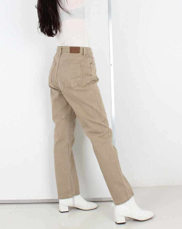 hazy cream straight jeans (beige)
