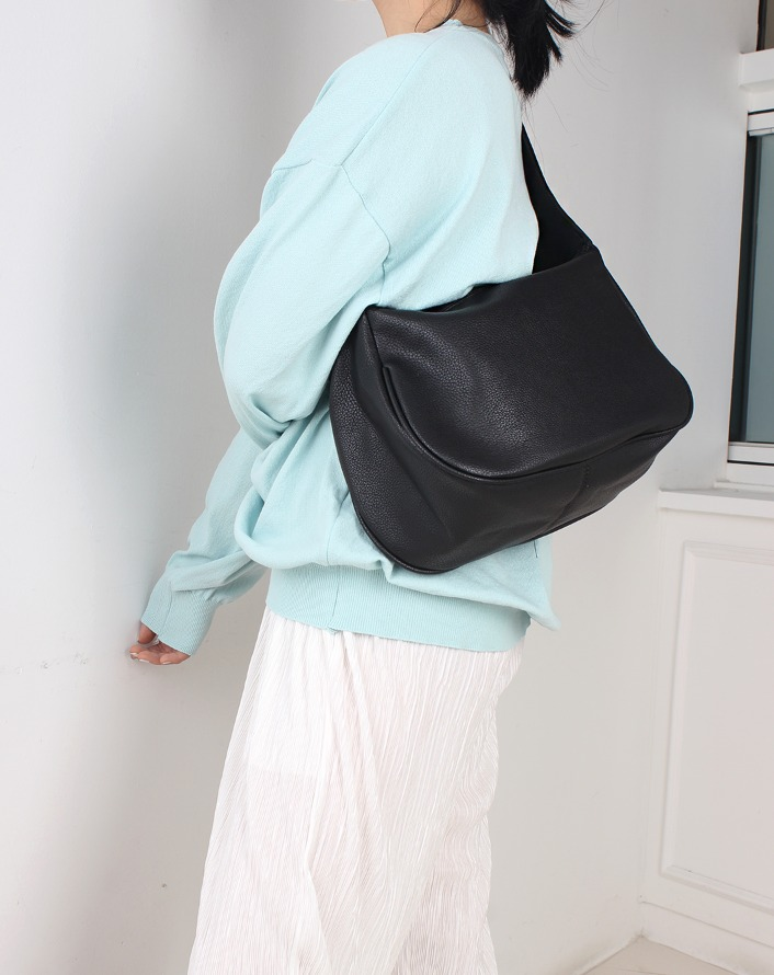 combination half shape leather bag (black)