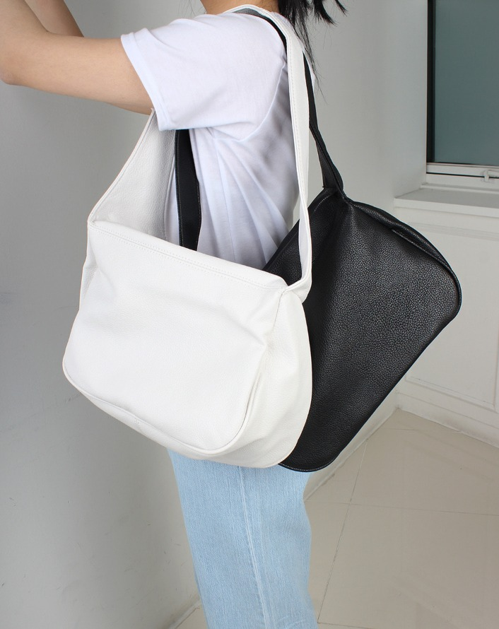 combination half shape leather bag (white)
