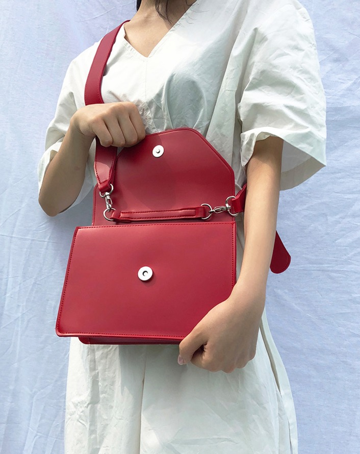 two way square bold leather bag (red)