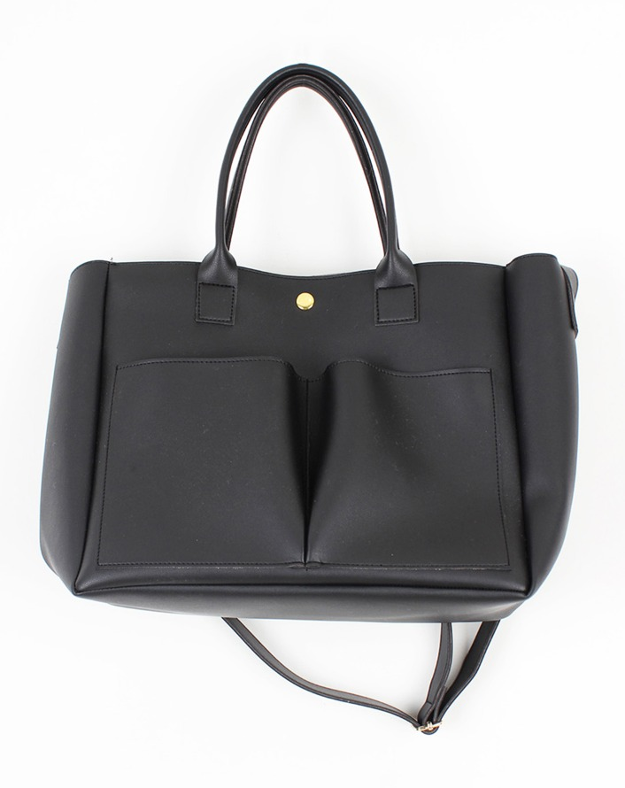 [HQ] mim leather pocket big bag (black)