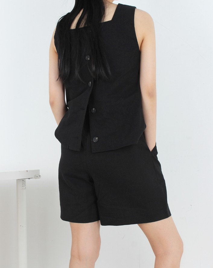 line twoway linen botton sleeveless (setup) - black