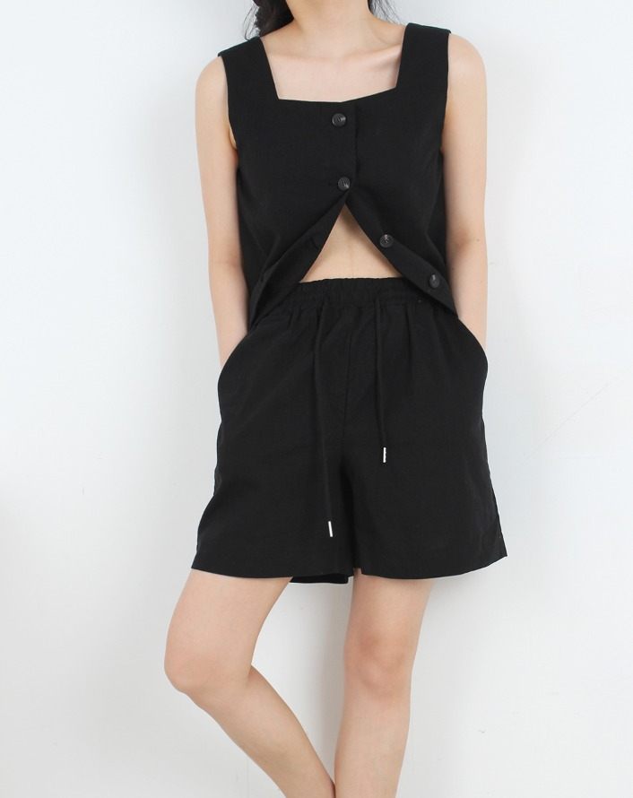 linen string banding short (setup) - black