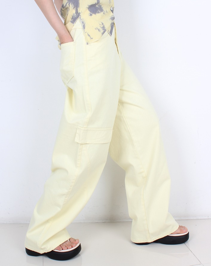 pigment color cargo cotton pants