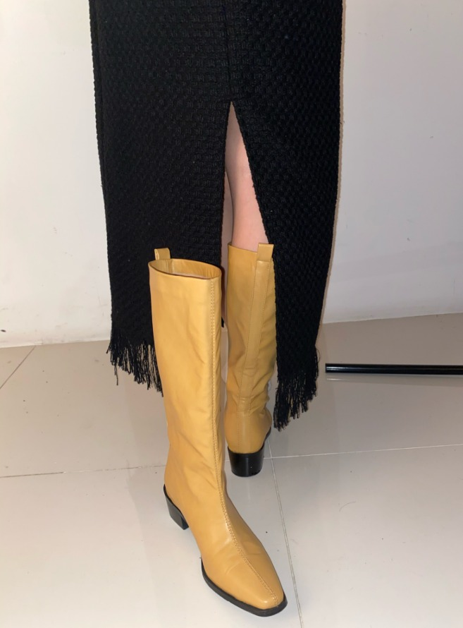 [HQ] clean shape leather boots (mustard)