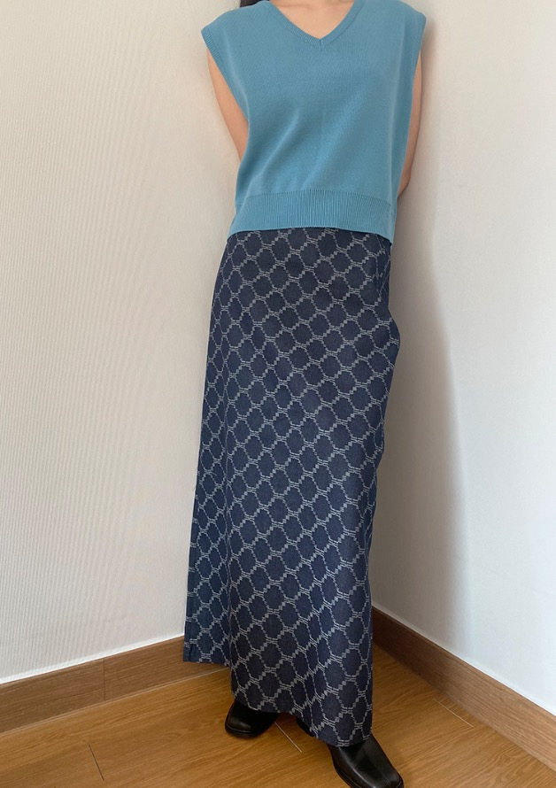 [HQ] pattern maxi denim cotton skirt