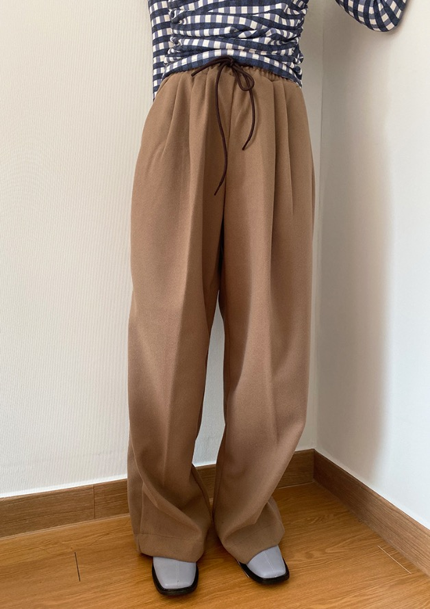 [HQ] maxi banding pin tuck wool slacks (unisex)