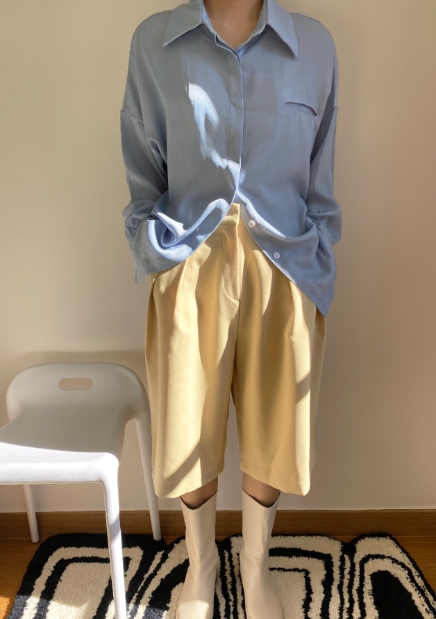 [HQ] wide half bermuda tuck slacks (butter)