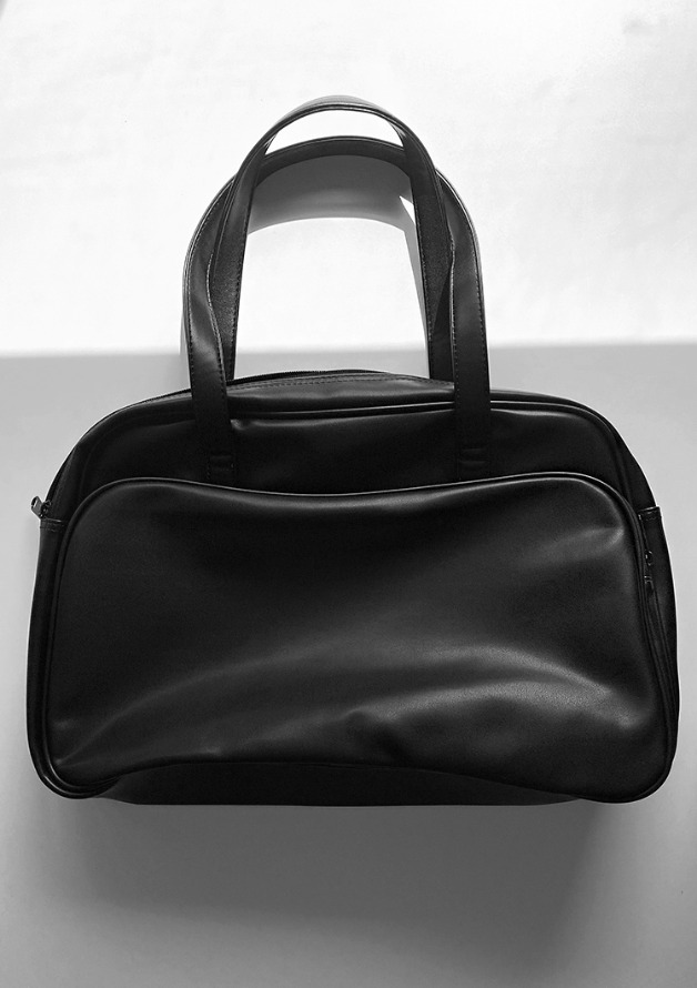 blank big leather shoulder bag (black)