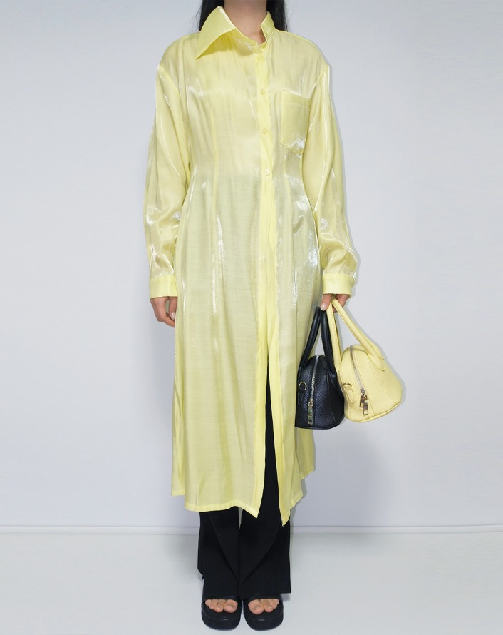 [HQ] unbal collar satin glitter long shirt (lemon)